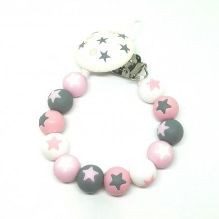 Silikon Nuggikette, Rosa/Grau mit Sternen