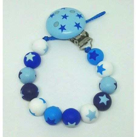 Silikon Nuggikette, Blau mit Sternen