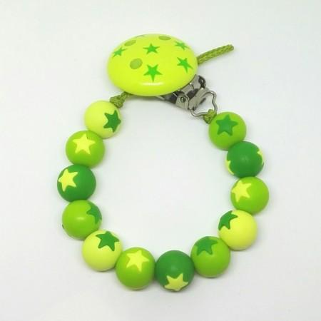 Silikon Nuggikette, Grün mit Sternen