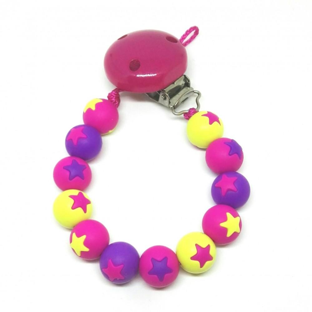 Silikon Nuggikette, Pink/Lemon/Violett mit Sternen