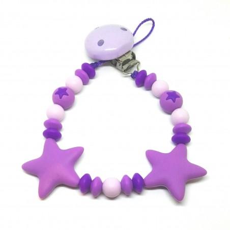 Silikon Nuggikette, Violett mit 2 Sternen