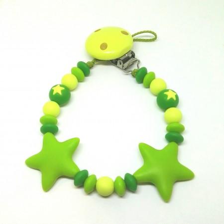 Silikon Nuggikette, Grün mit 2 Sternen