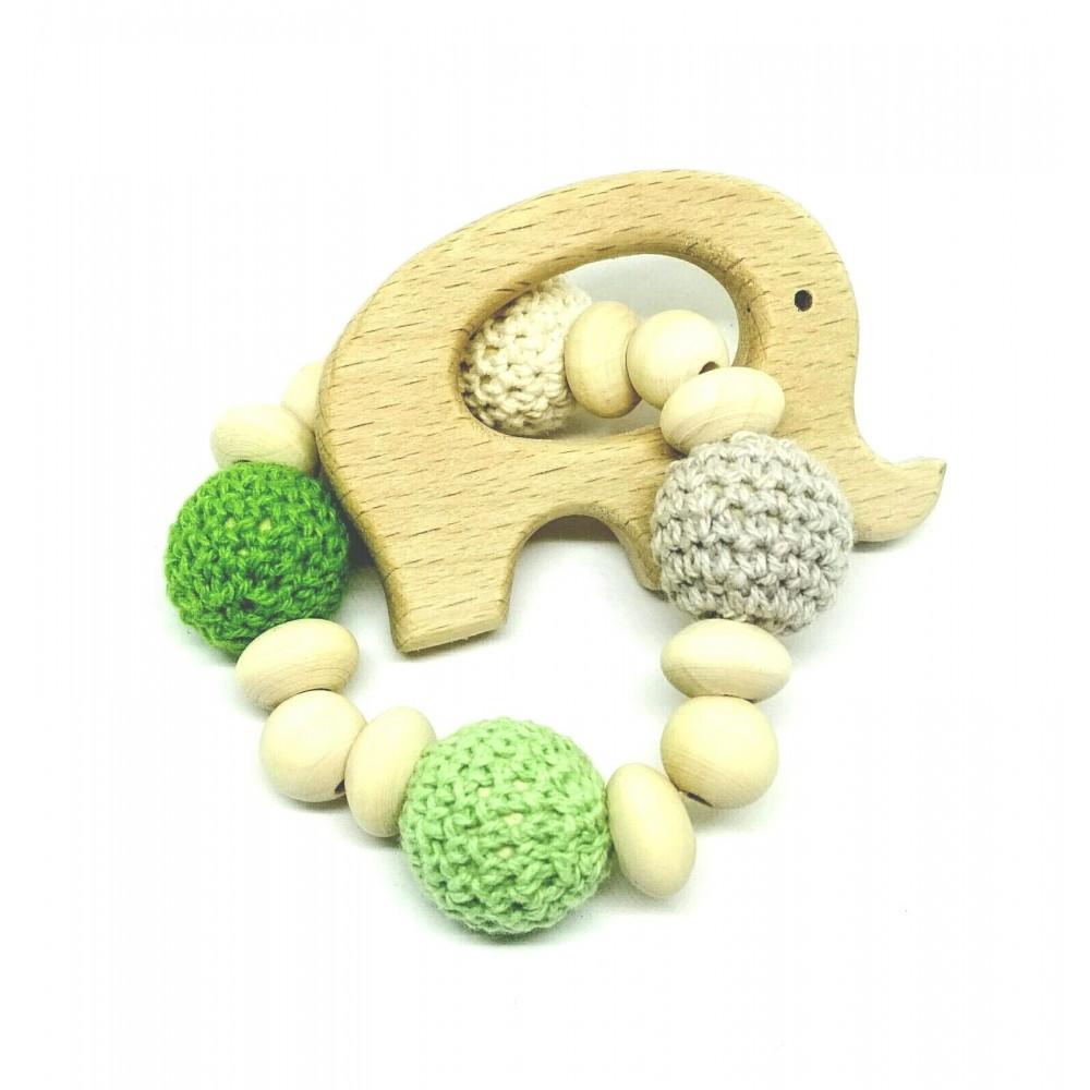 Holz Greifling, Grün/Grau mit Elefant