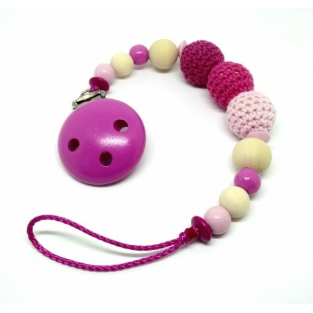Holz-Häkel Nuggikette, Pink/Rosa