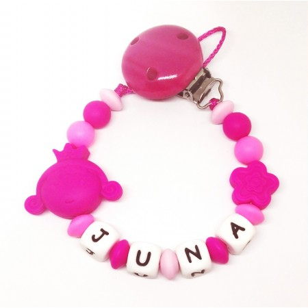 Silikon Nuggikette, Pink/Rosa mit Name und Prinzessin