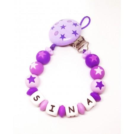 Silikon Nuggikette, Violett mit Name und Sternen