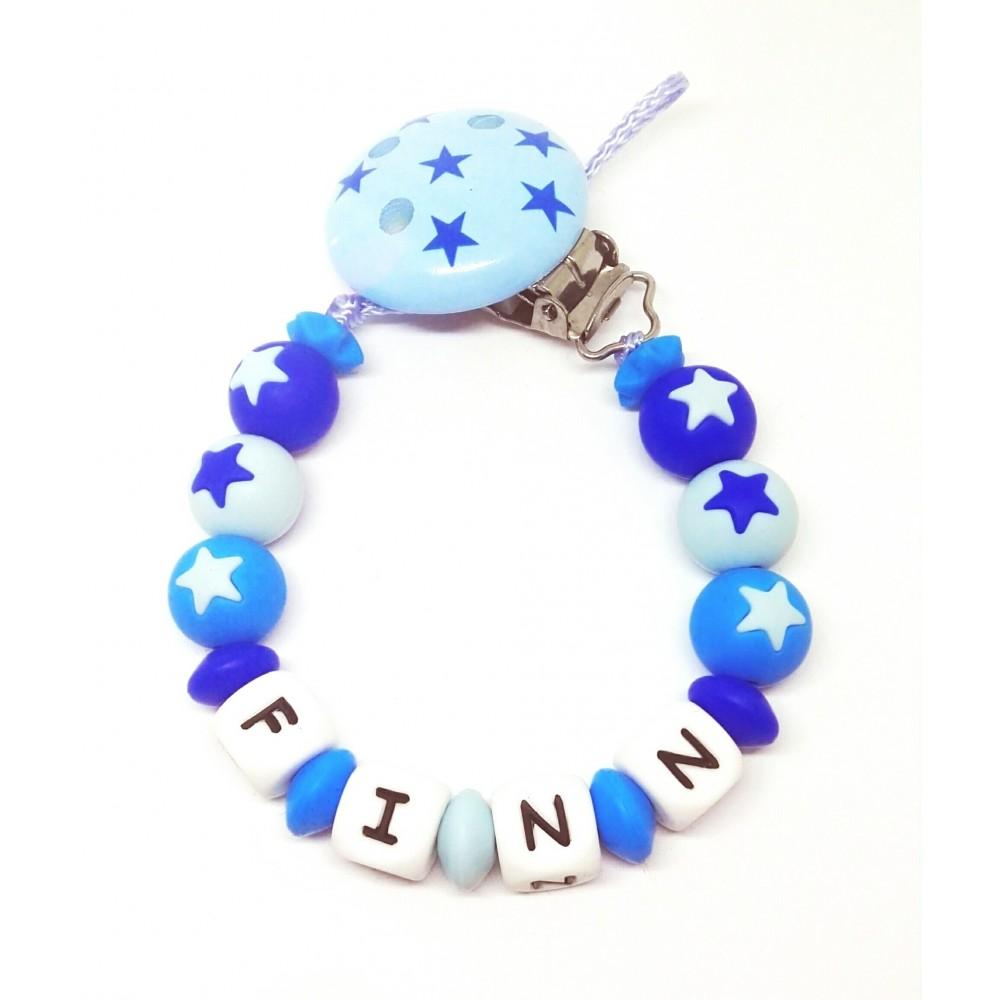 Silikon Nuggikette, Blau mit Name und Sternen