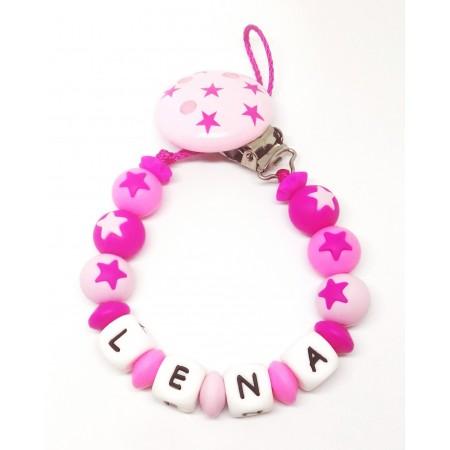 Silikon Nuggikette, Pink/Rosa mit Name und Sternen