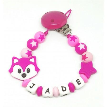 Silikon Nuggikette, Pink mit Name und Fuchs