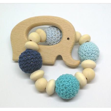 Holz Greifling, Blau mit Elefant