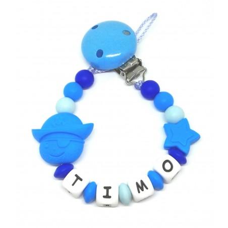 Silikon Nuggikette, Blau mit Name und Pirat
